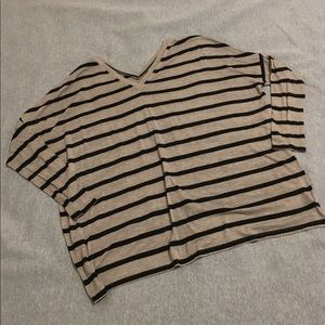 Express One Eleven VNeck Striped Long Sleeve Shirt
